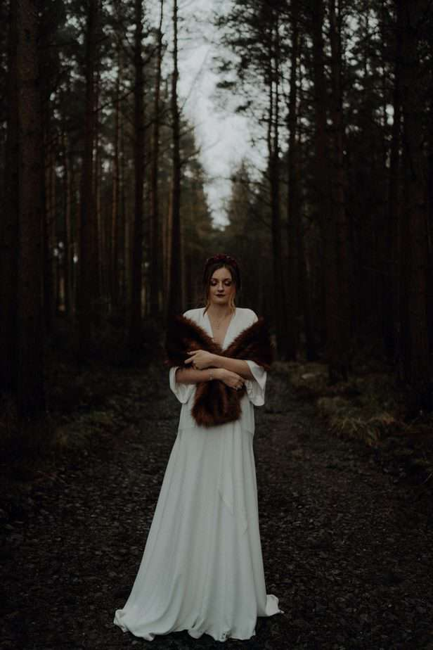 Stirling Wedding Photographer. Bride stood in forest in Stirling by Belle Art Photography