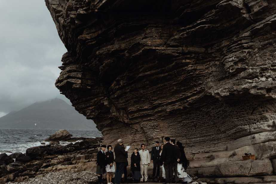 an elopement ceremony at honeycomb rock, Elgol - Isle of Skye Wedding Photographer