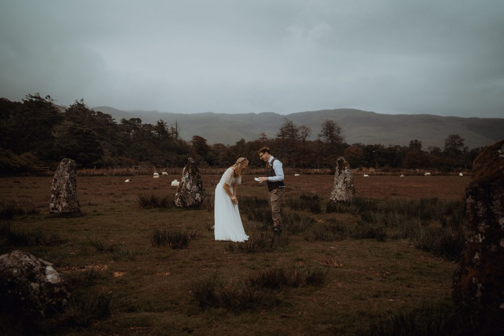 couple reading vows at Lochbuie Stone Circle - Isle of Mull Elopement