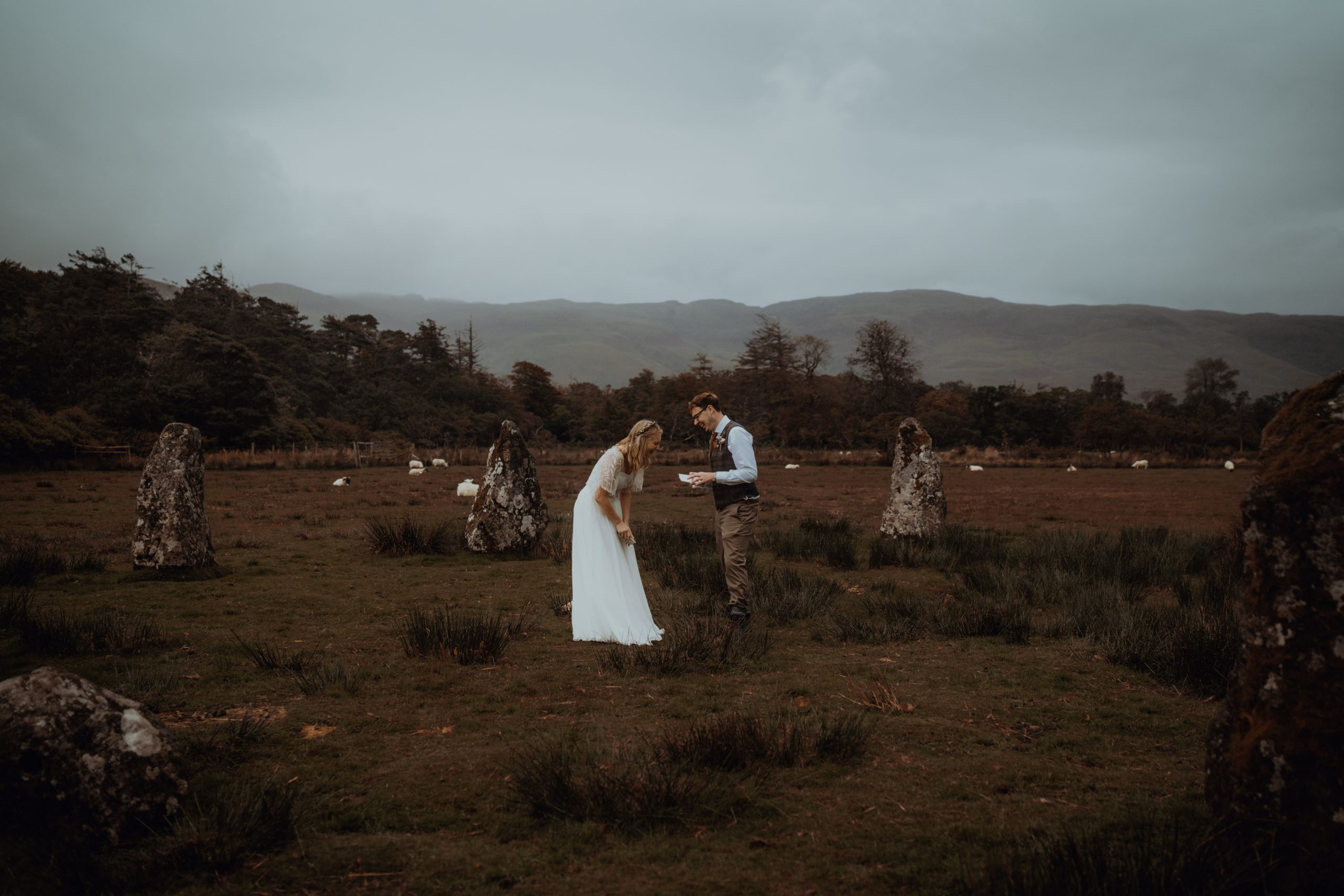 couple reading vows at stone circles during Isle of Mull Elopement