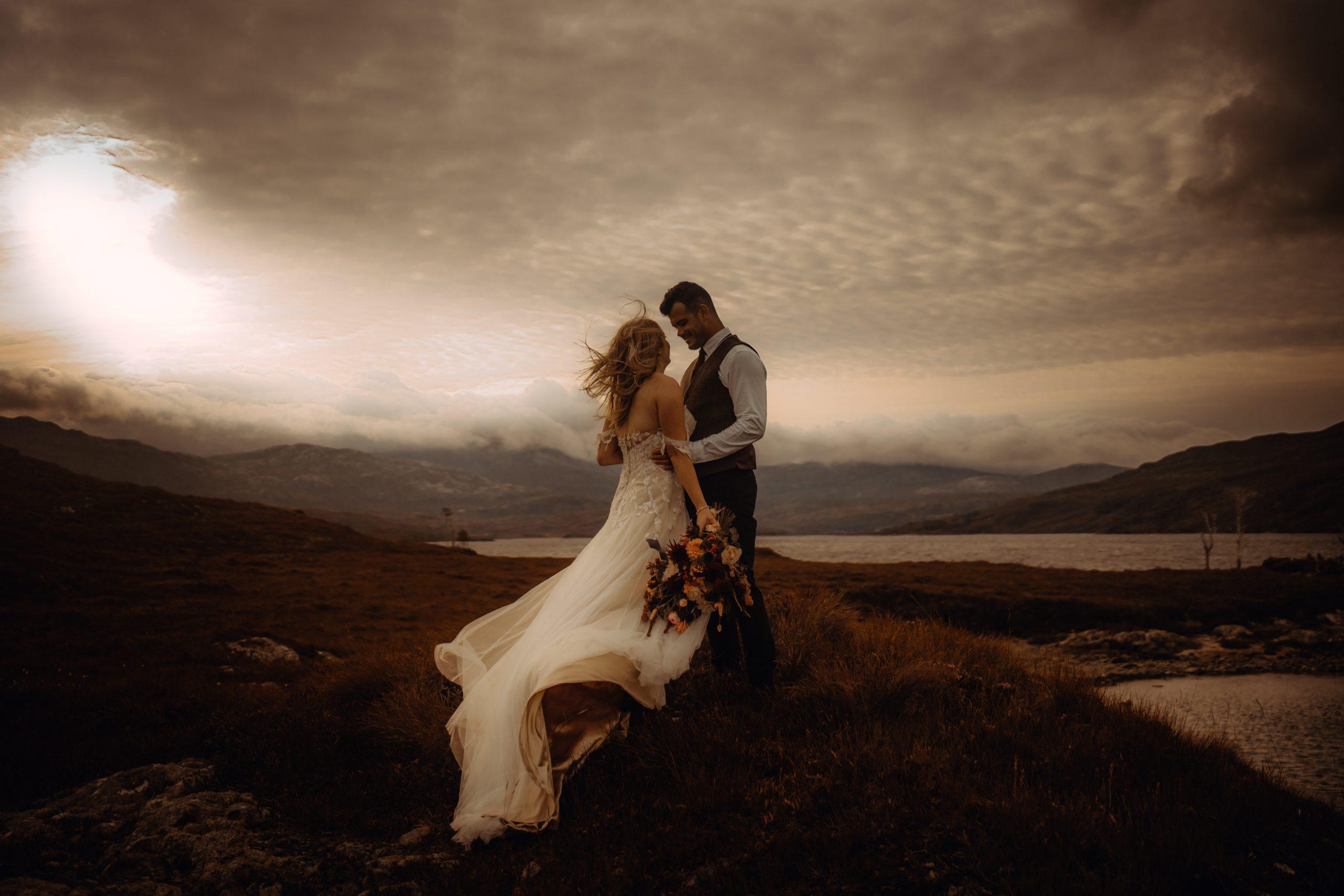 sunrise elopement at Loch Assynt