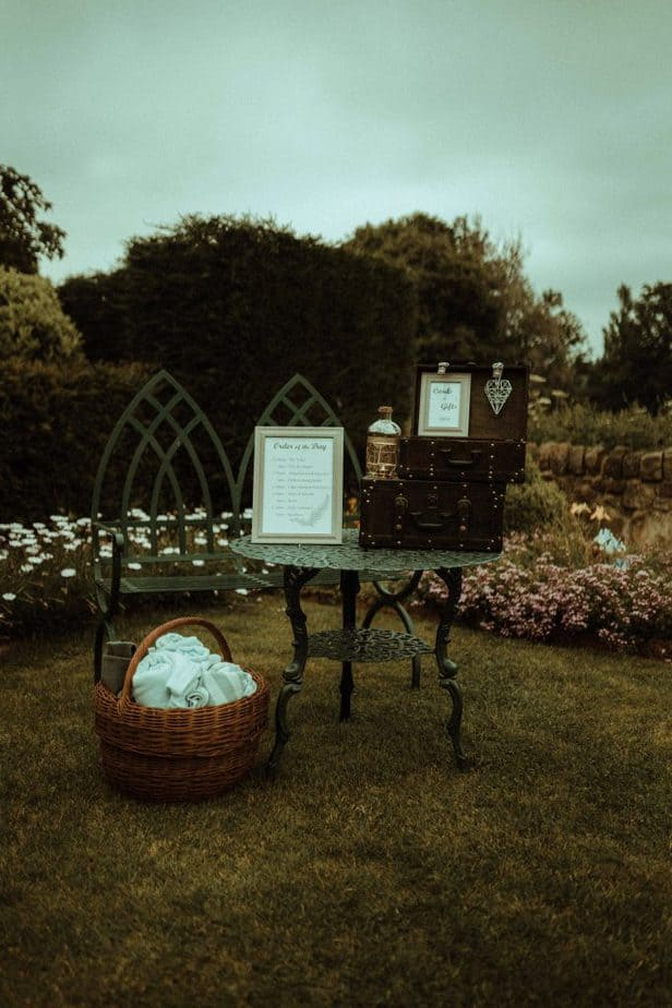 An image of the wedding gift box at Crook Hall by Belle Art Photography