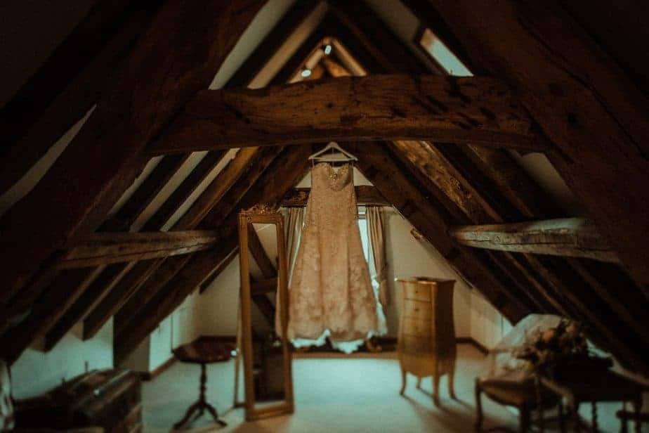 An image of the wedding dress at Crook Hall by Belle Art Photography