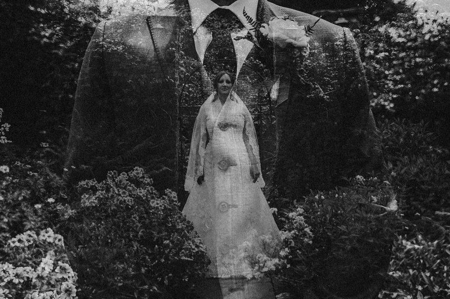 A double exposure image of bride inside the groom at Crook Hall by Belle Art Photography