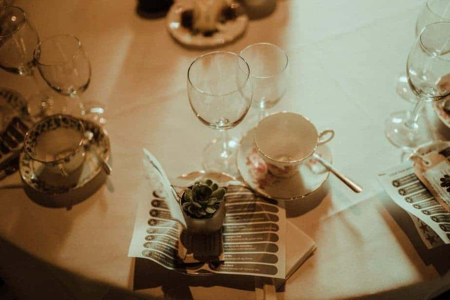 An image of the table decorations at Crook Hall and Gardens