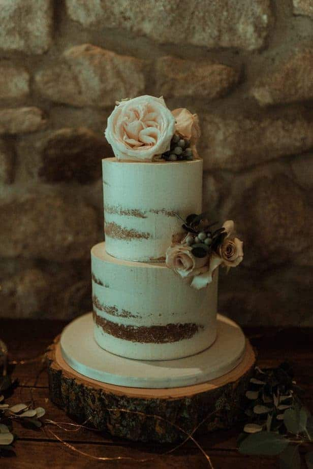 An image of the wedding cake an intimate wedding at Northside Farm by Belle Art Photography