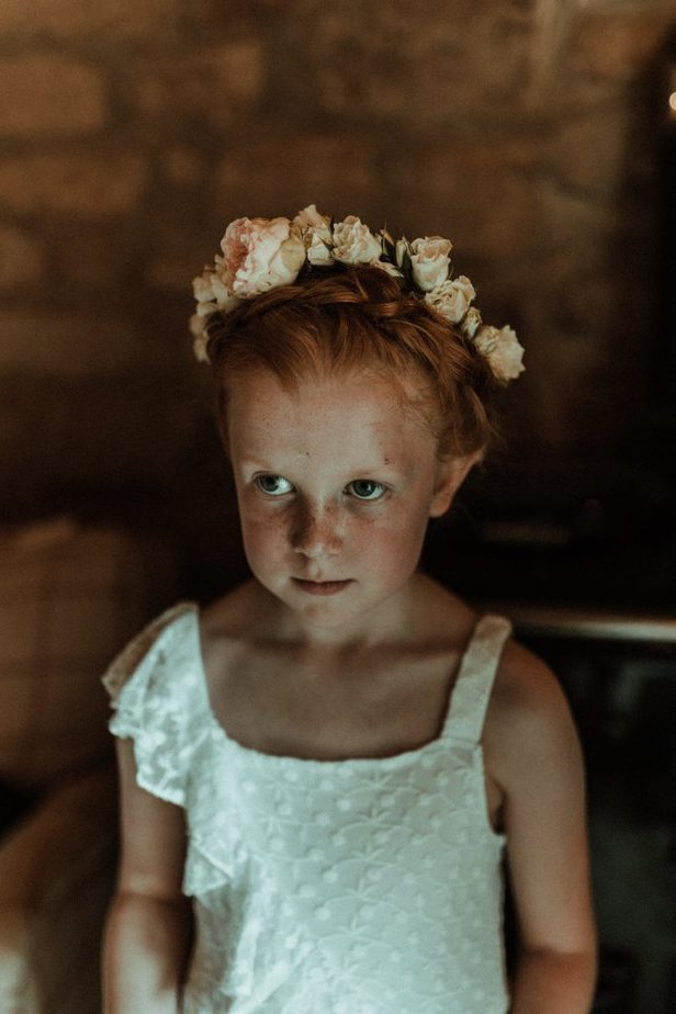 A portrait of flower gril an intimate wedding at Northside Farm by Belle Art Photography