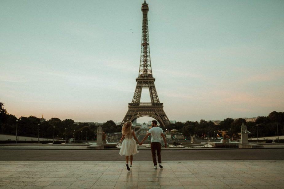 An Engagement photoshoot at the Eiffel Tower in Paris by Belle Art Photography