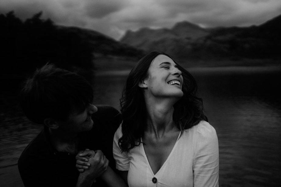 An image of a couple in Blea Tarn by Lake District Wedding Photographer, Belle Art Photography