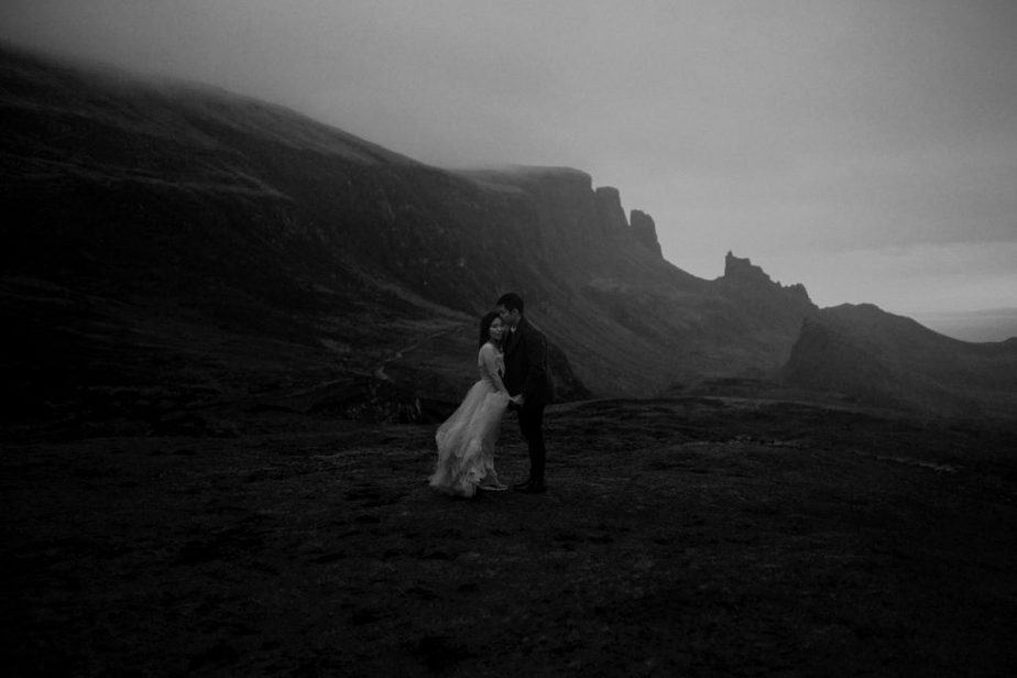 Black and white image of couple hugging during Isle of Skye Elopement