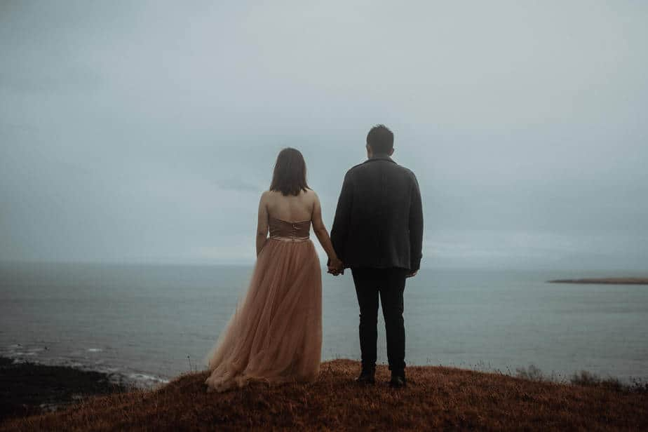 A couple standing on edge of Cuillin Mountains during Elopement