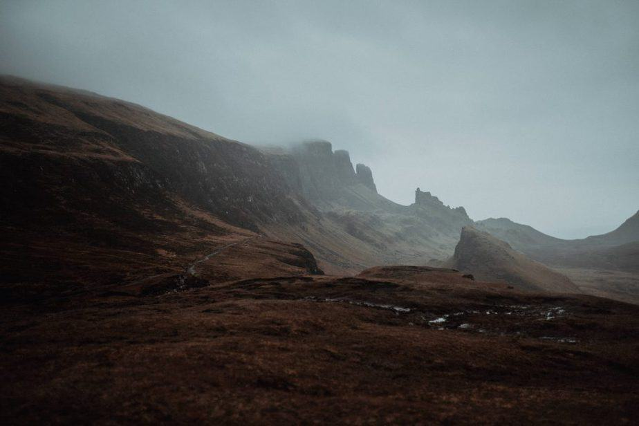 Landscape of The Quiraing during a storm. Isle of Skye Elopement by Belle Art Photography