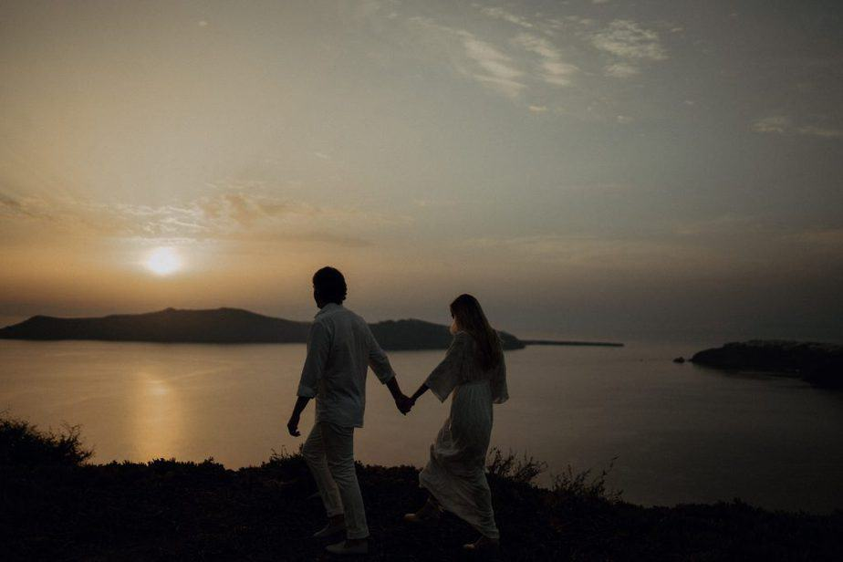 Destination Adventure Sessions - sunset Engagement session in Santorini