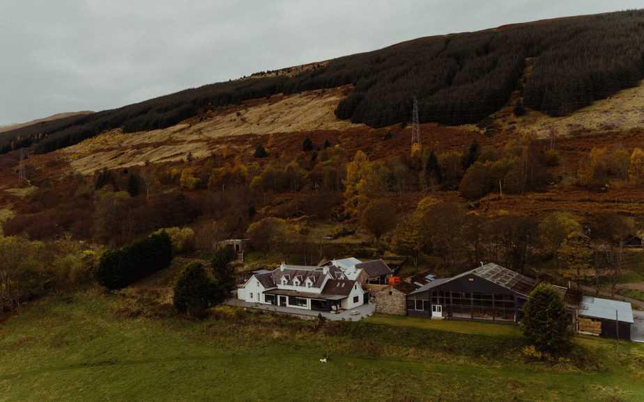 Drone shot of Boreland Farmhouse Loch Tay