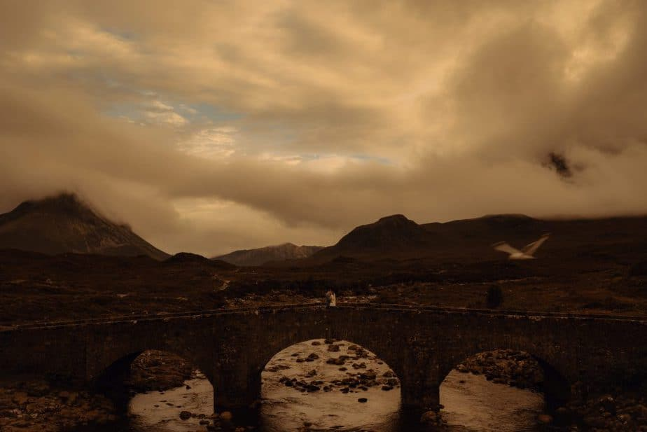 Elopement on Sligachan Bridge, Isle of Skye at sunset
