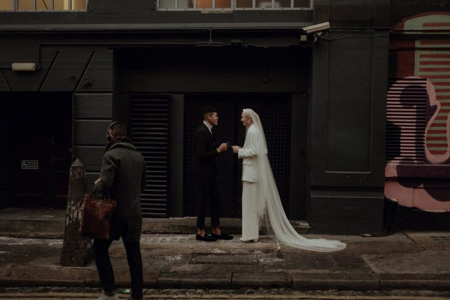 couple reading vows in Shoreditch during London Elopement.
