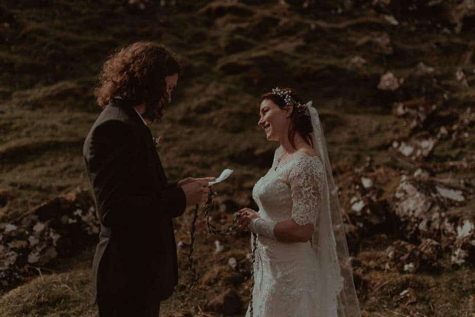 couple reading vows during Isle of Skye Elopement by Elopement Photographer - Belle Art Photography