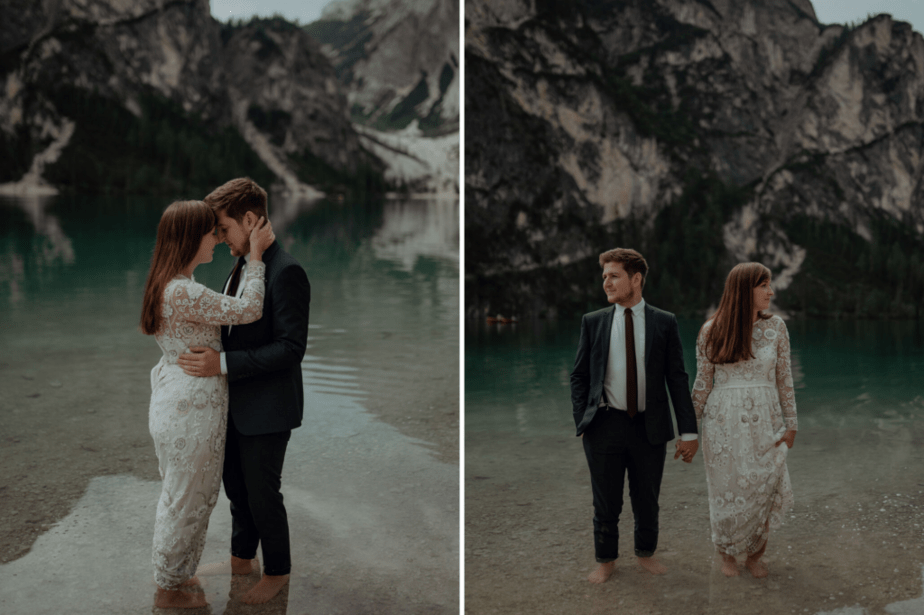 Engagement couple session at Lake Braies, Italy