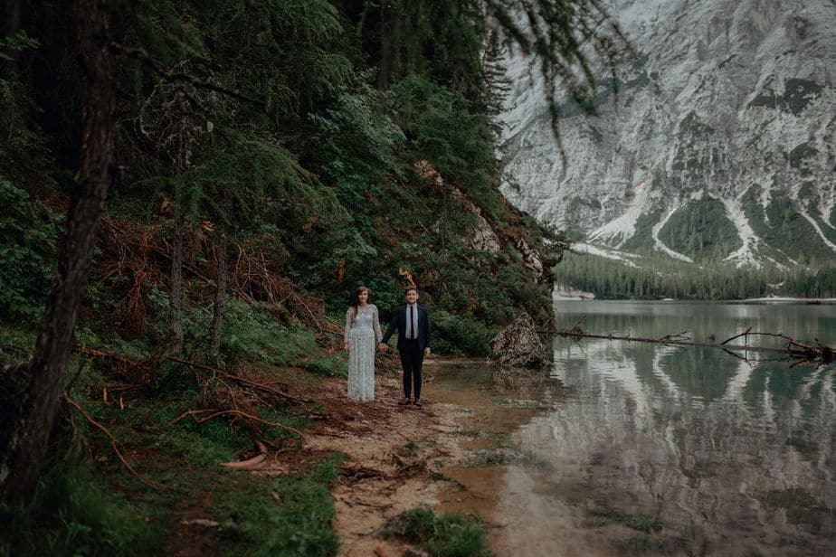 Couple photos at Lake Braies by Belle Art Photography